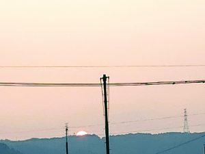 八木山に沈む夕日